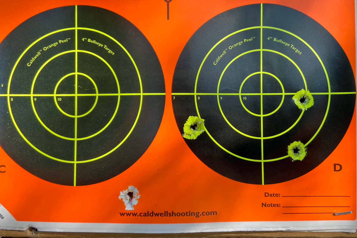 I fired this 5-shot group at 17 yards, sitting. I pulled one way over low left; the trigger on this gun is truly atrocious. (Photo © Russ Chastain)