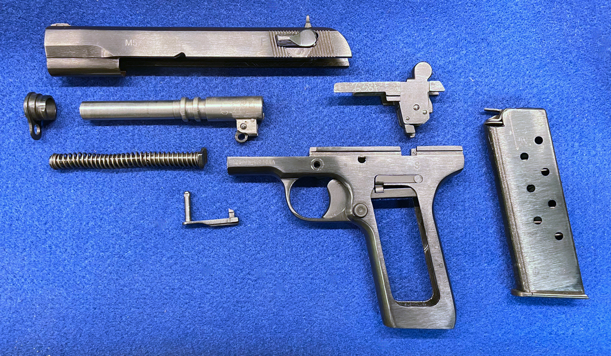 Fully field-stripped Zastava M57 pistol. (Photo © Russ Chastain)
