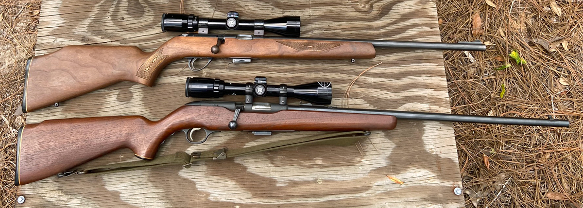 Savage Model 65M (top) and Mossberg Chuckster Model 640KA bolt action 22 Magnum rifles. (Photo © Russ Chastain)