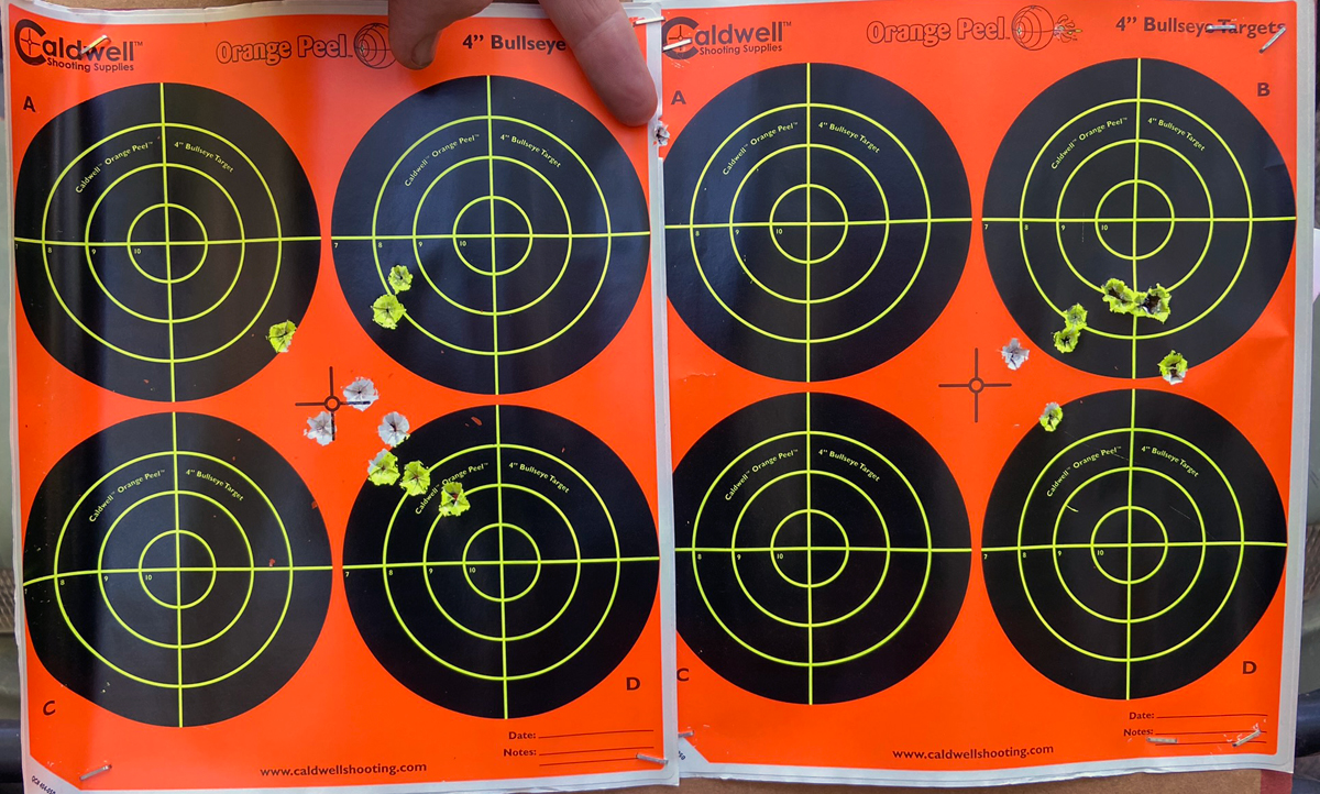 Ten-shot groups fired at 100 yards aiming at center of targets. Left Mossberg group inexplicably large, with a high-right flyer on the edge of the target. Savage group much better. (Photo © Russ Chastain)