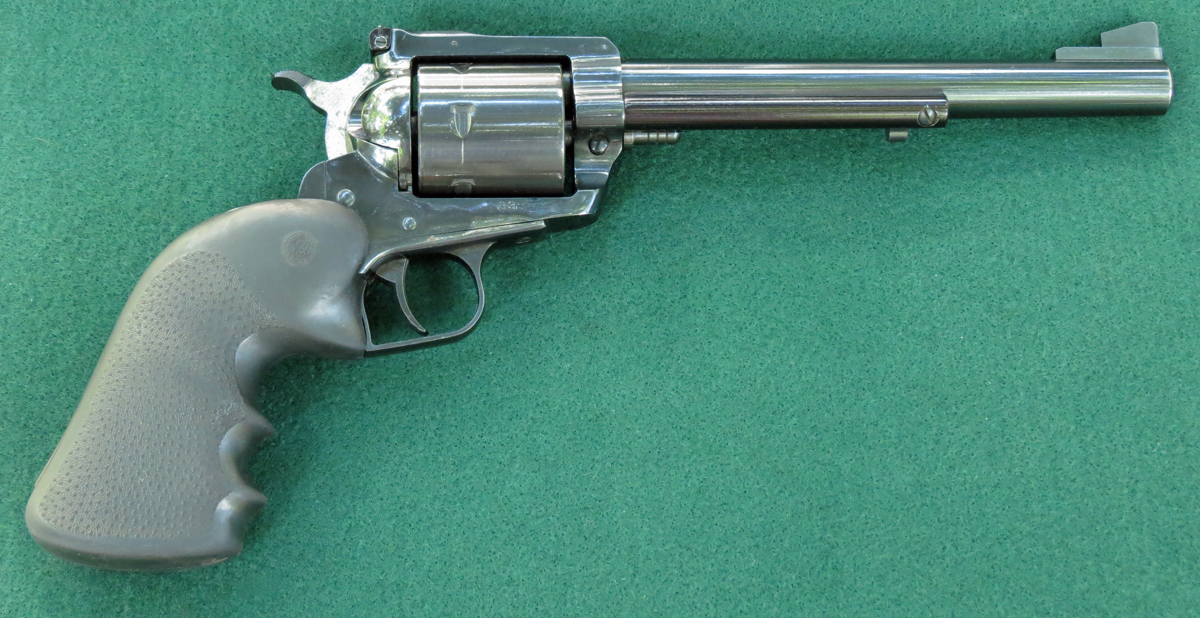 Right side of Ruger New Model Super Blackhawk 44 magnum single action revolver. (Photo © Russ Chastain)