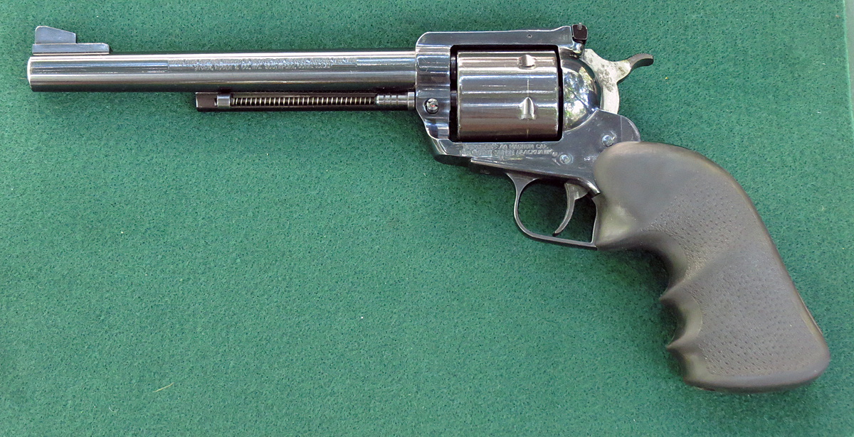 Left side of Ruger New Model Super Blackhawk 44 magnum single action revolver. (Photo © Russ Chastain)