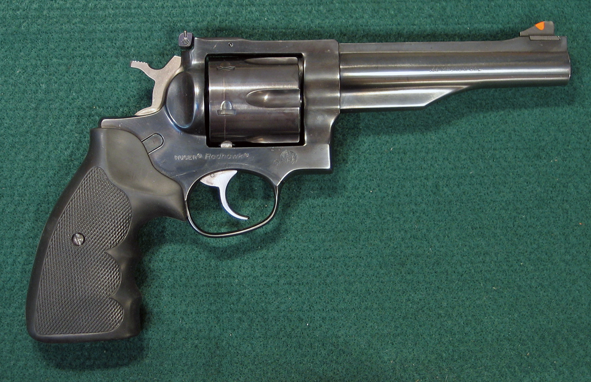 Right side of Ruger Redhawk 44 magnum double action revolver. (Photo © Russ Chastain)