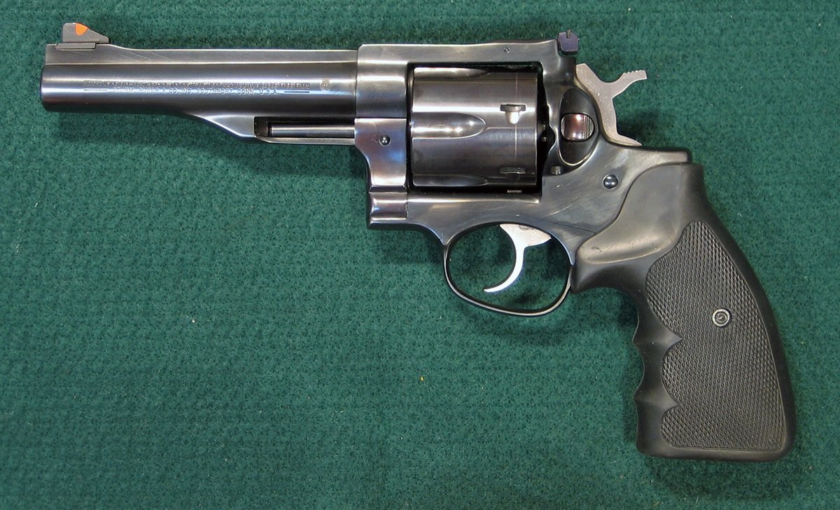 Left side of Ruger Redhawk 44 magnum double action revolver. (Photo © Russ Chastain)