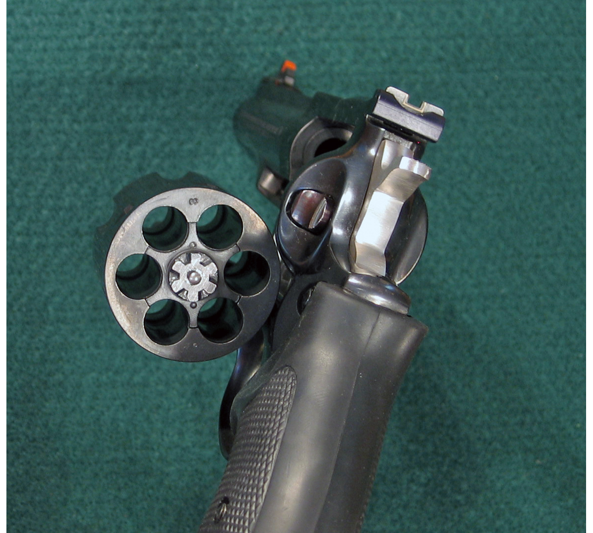 Ruger Redhawk 44 magnum double action revolver with cylinder open. (Photo © Russ Chastain)