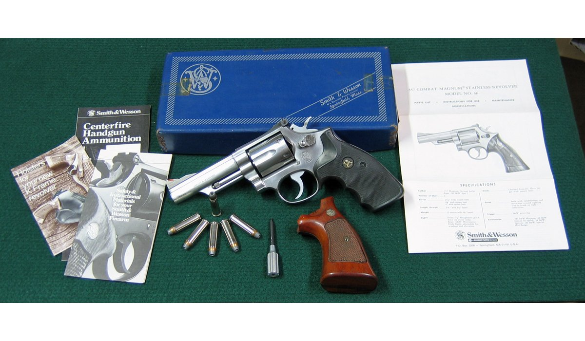 The Smith & Wesson Model 66 357 Magnum Stainless Combat Revolver