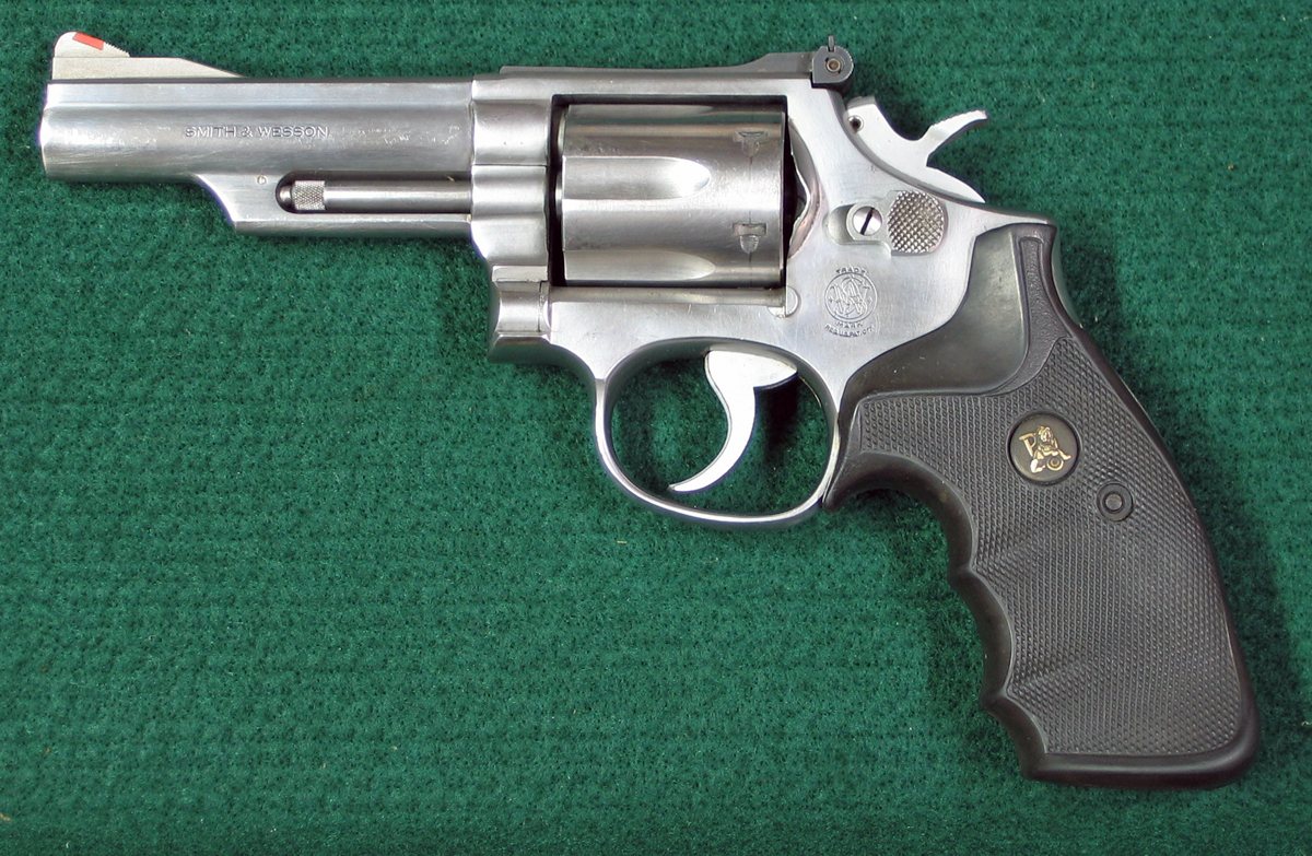 Left side of S&W Model 66-1 double action stainless steel revolver. (Photo © Russ Chastain)