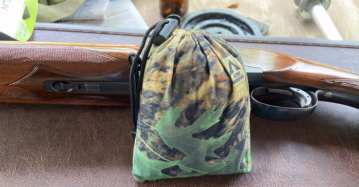 Gun Slicker in its stuff sack, which doubles as the muzzle end cover. (Photo © Russ Chastain)