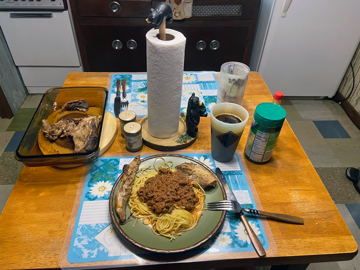 Ground venison in the spaghetti sauce, and roasted wild hog on the side. (Photo © Russ Chastain)