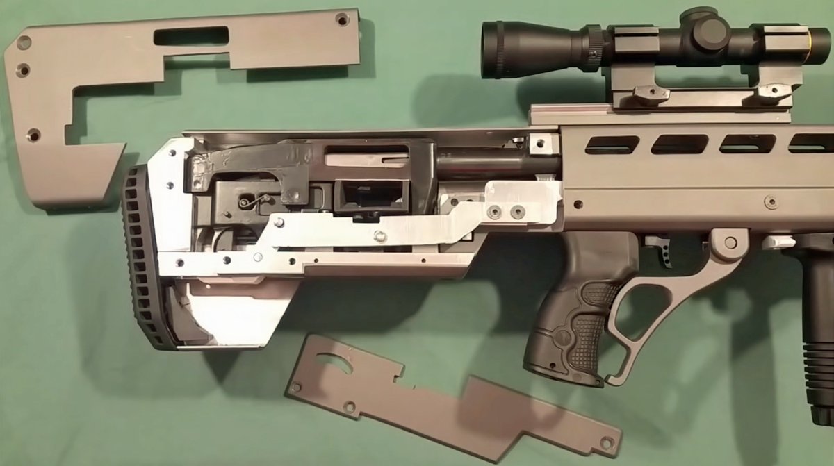 The bullpup 44's innards.