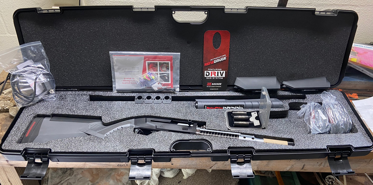 The factory case is set up to hold the broken-down shotgun with all accessories. (Photo © Russ Chastain)