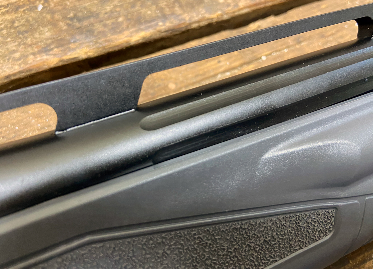 The vented barrel rib is quite tall and the barrel is fluted. (Photo © Russ Chastain)