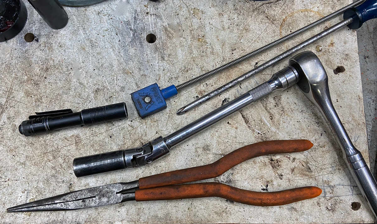 I needed all of these tools to adjust the butt stock fit. (Photo © Russ Chastain)