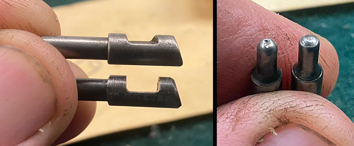 Comparison of old (bottom on left; left on right) and new firing pins. (Photo © Russ Chastain)