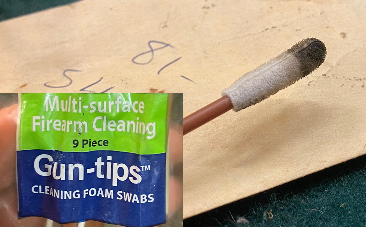 I used a Gun-tip from Swab-its to clean the hole out. (Photo © Russ Chastain)