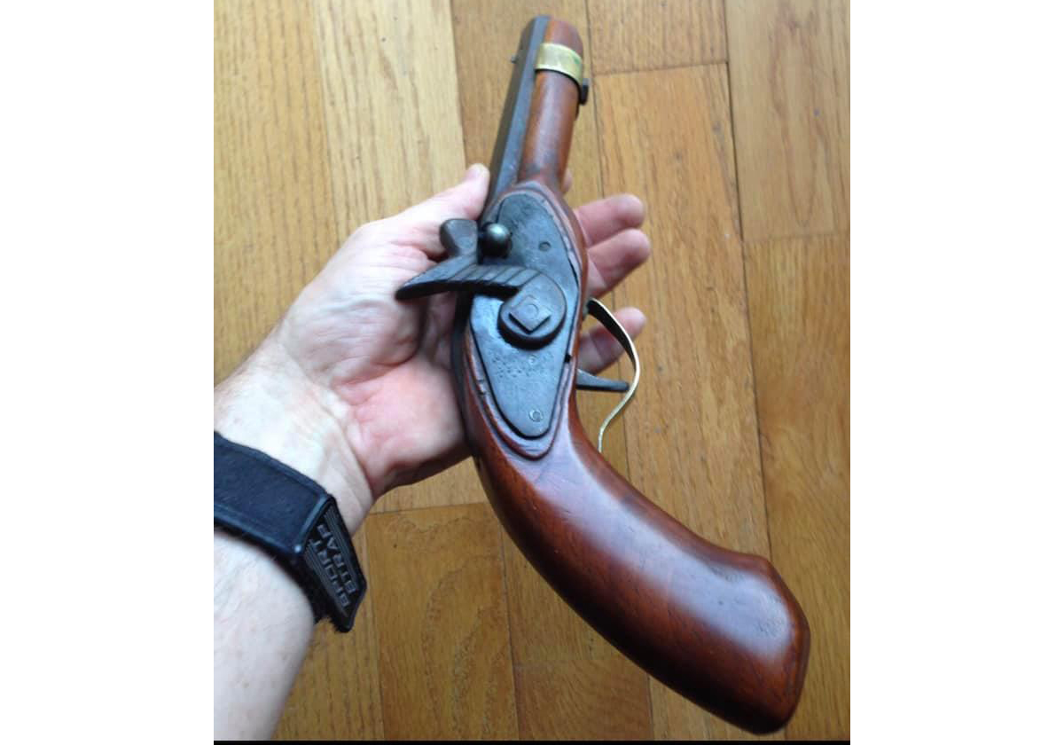 Right side of homemade muzzleloading pistol. I love the decorative touches on the hammer. (Image: Randy Snider, used by permission)