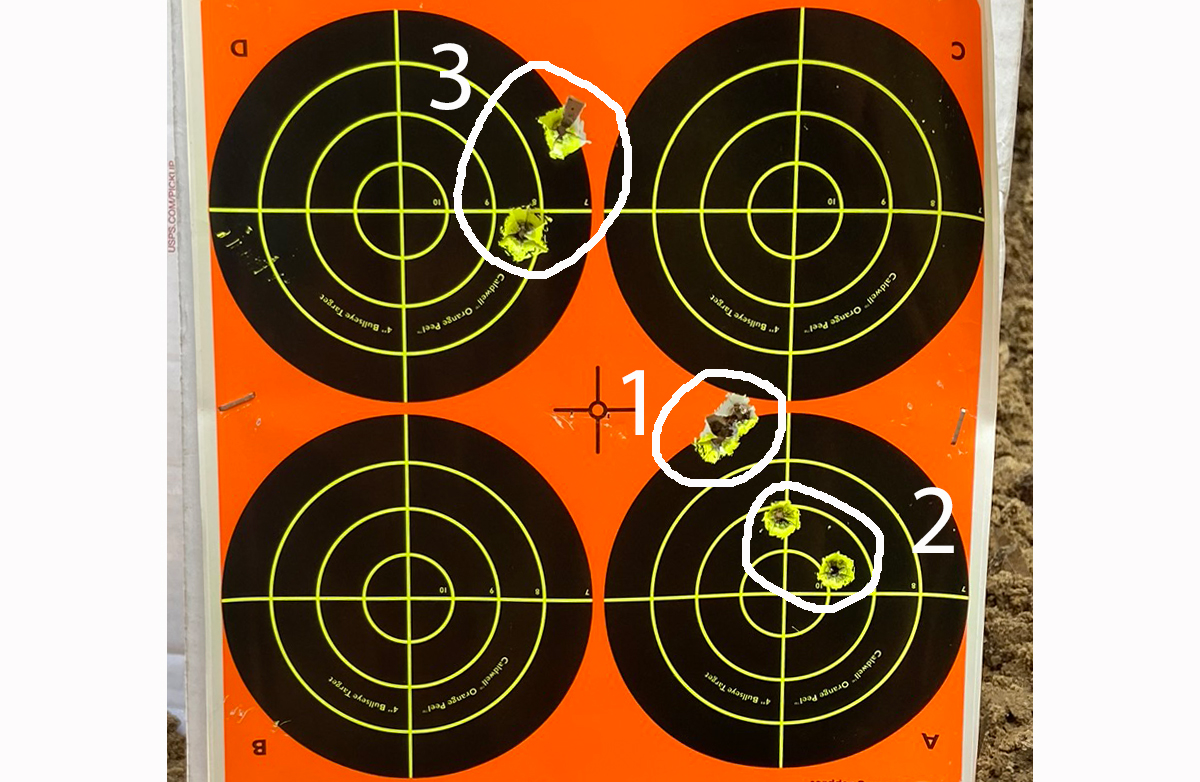 Three groups with Sierra 30-06 165-grin TGK ammo. 1 at 50; 2 and 3 at 100 yards. (Photo © Russ Chastain)
