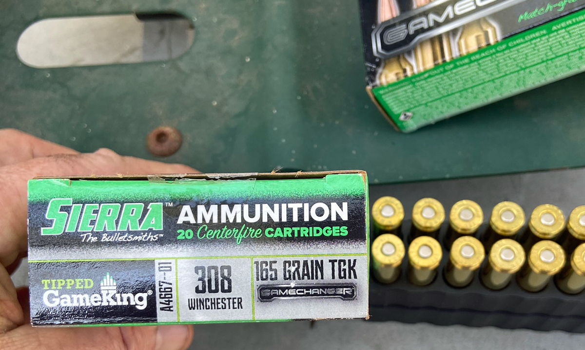 Sierra GameChanger ammo, load A4667--01 308 Win 165-grain TGK (Photo © Russ Chastain)