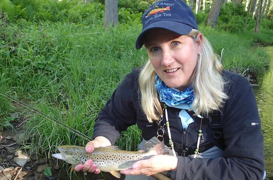 Lindsay Agness shows off trout