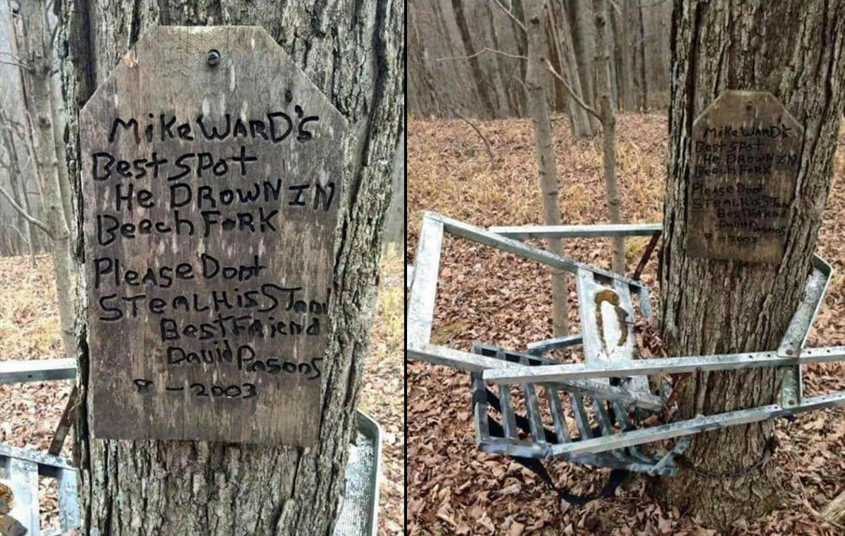Deceased Hunter's Best Friend Hung Stand, Sign in his Memory