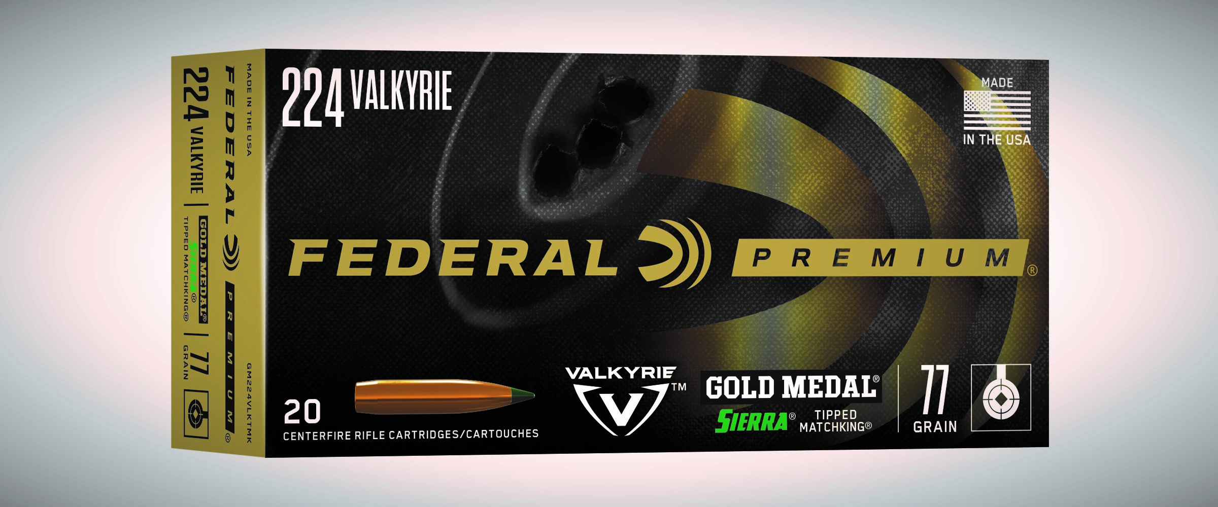 NEW Federal Premium Gold Medal Sierra Tipped MatchKing 224 Valkyrie