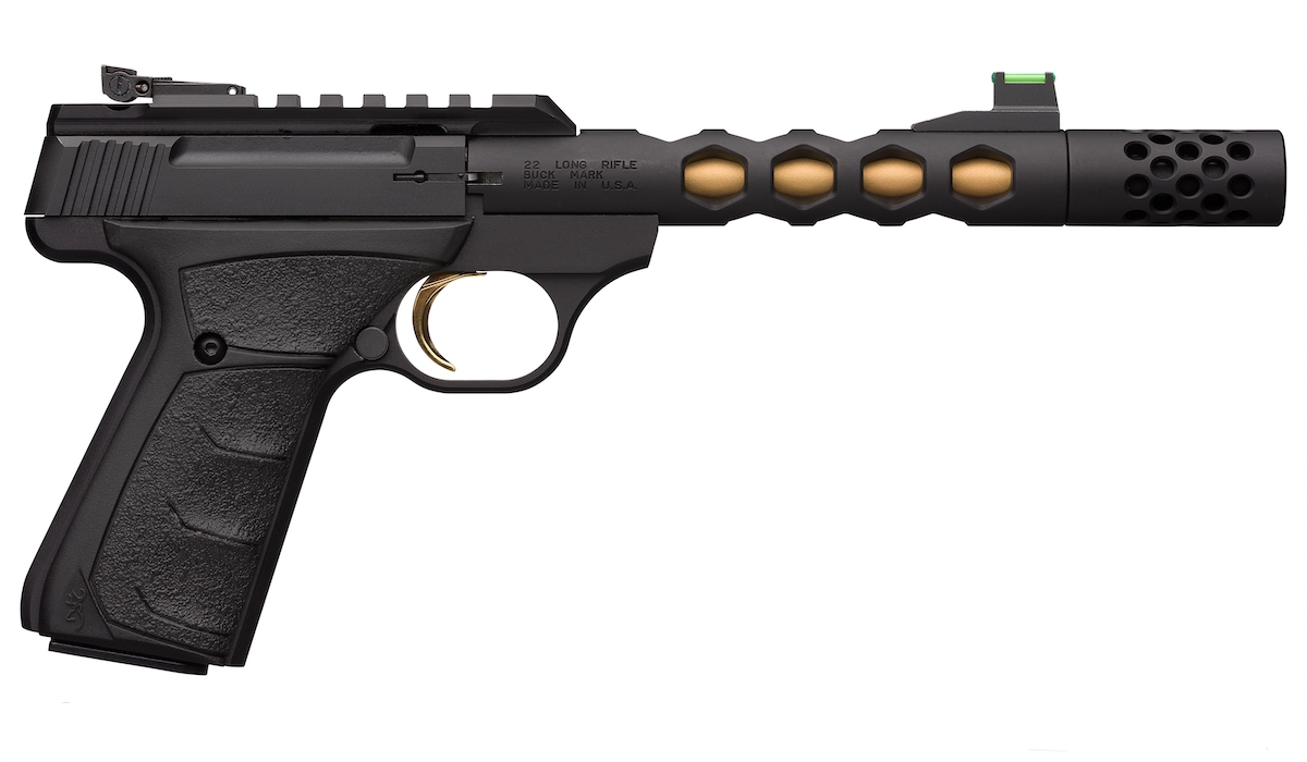 Introducing the Buck Mark Plus Vision Black/Gold Suppressor Ready Pistol