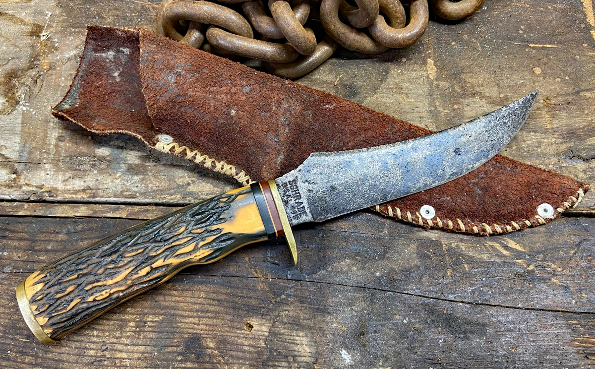 Schrade 498 with homemade sheath. (Photo © Russ Chastain)