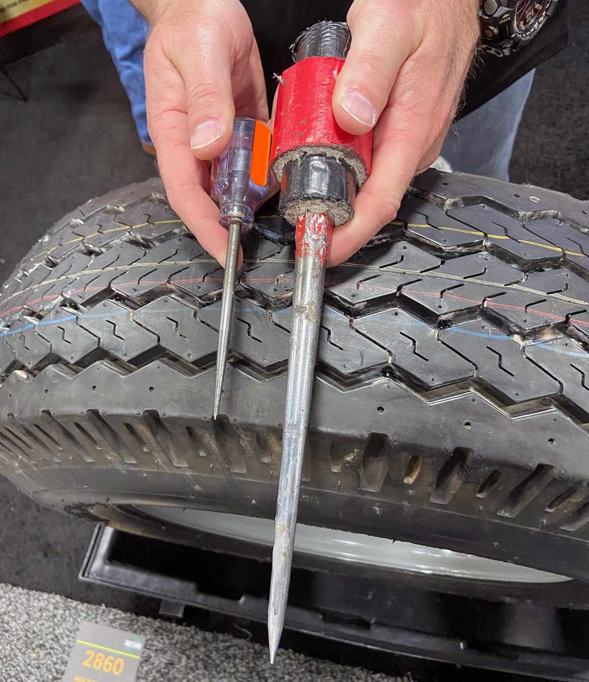 Spikes for demonstrating Flat Out tire sealant (Photo © Russ Chastain)