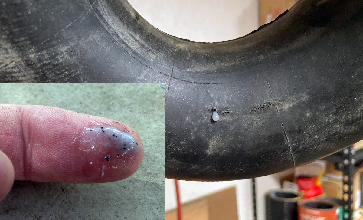 Leak sealed. Inset shows some of the particles in Flat Out (Photo © Russ Chastain)