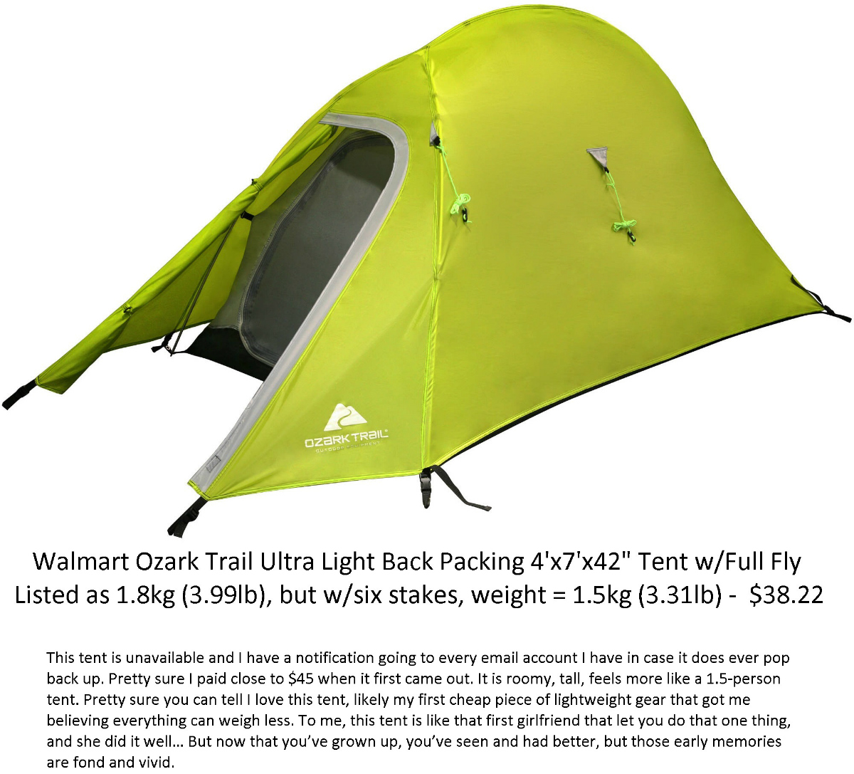 """Walmart Ozark Trail Ultra Light Back Packing 4' x 7' x 42"""" Tent with Full Fly, Sleeping Capacity 1 Person"""