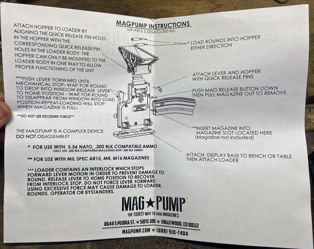 Instruction sheet for AR-15 Mag Pump (Photo © Russ Chastain)