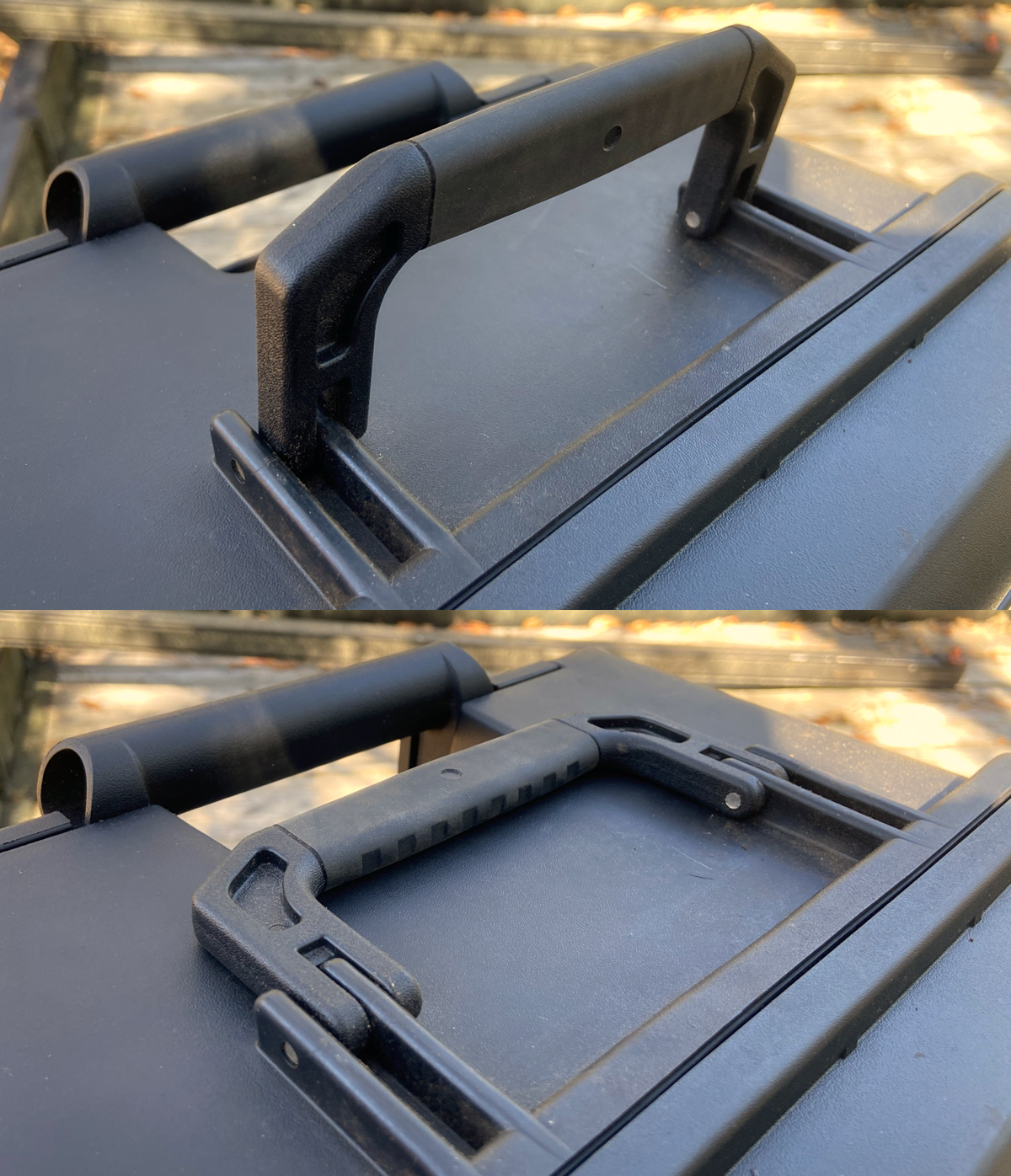 Rubberized folding handle on end folds flat (Photo © Russ Chastain)