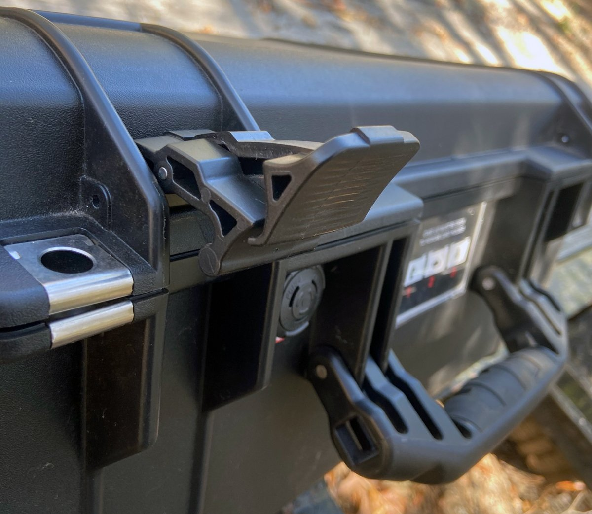 Open latch on Pelican 1535 Air case (Photo © Russ Chastain)