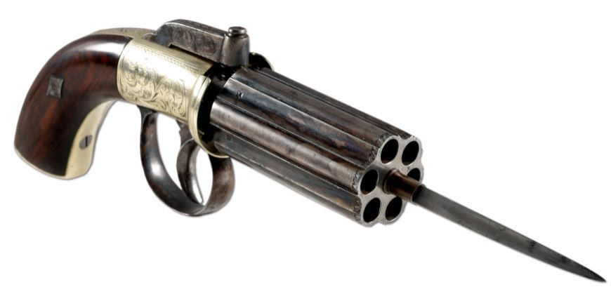 POTD: An English Pepperbox Pistol with a Bayonet