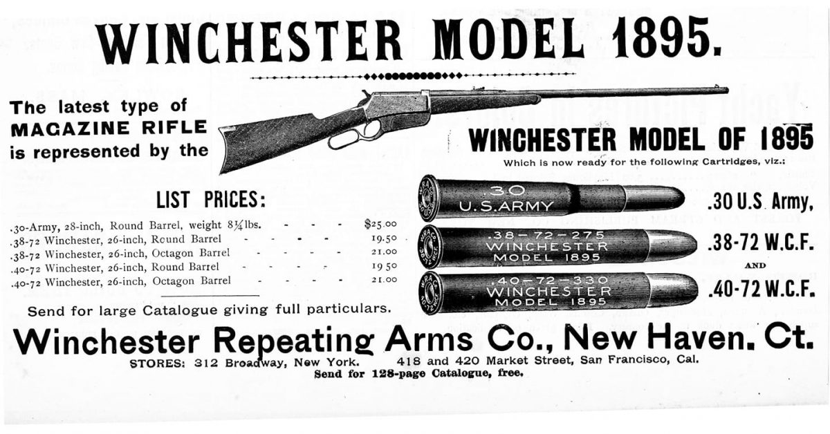 POTD: Winchester 1895 Rifle – 1896 Advertisement for the Model 1895