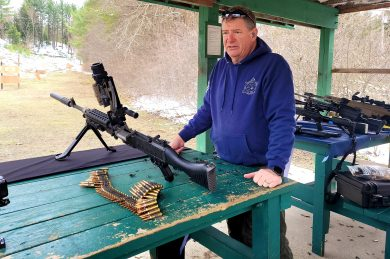 Jerry Hurd, Vice President of International Sales at Ohio Ordnance Works, gives a safety briefing